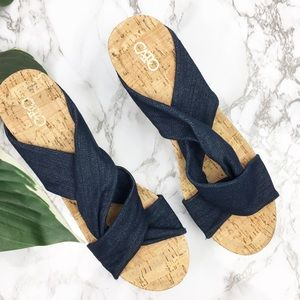 Cato | Cross Denim Wedges